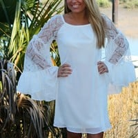 Bangles Boutique — WHITE LACE BELL SLEEVE CHIFFON DRESS