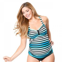 Women Swimwear Plus Size maternity Striped Beach Swimming Suit Pregnant Two Piece Swimsuit Large Size Bathing Suit Bikini Set