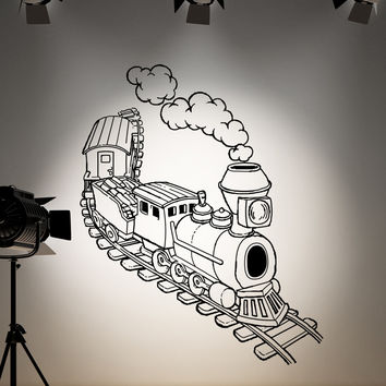 Vinyl Wall Decal Sticker Illustrated Train #OS_AA217