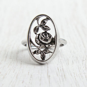 Vintage Flower Ring - Retro Rose 1970s Adjustable Signed Avon Silver Tone Filigree Floral Ring / Rosamonde