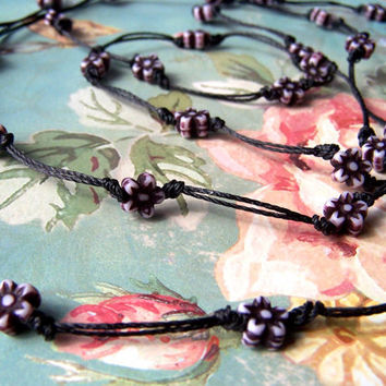 Black Cord Necklace, Knotted, Flower Bead Long Necklace, Delicate, Spring Jewelry, Summer Fashion