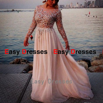 Long sleeves dress beads dress Prom dress Bridesmaid dress Fashion dress Party Evening Dresses 2014