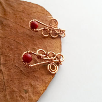 Red coral ear pin - Red coral jewelry Ear climber Ear climber earring Pierced ear cuff Pierced earring Climber earring Red coral earring