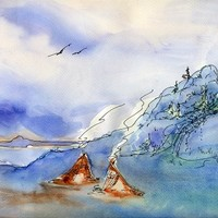 Two Tipis by the Lake - watercolor and pen artwork