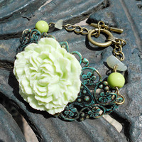 ANTICIPATION Vintage Shabby Chic Green Peony Bracelet