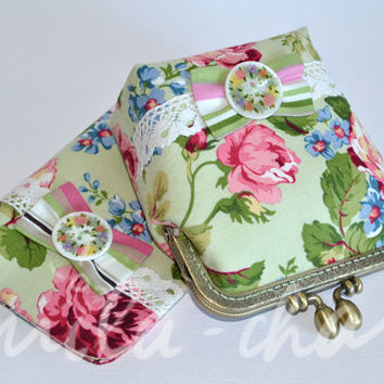 Set of pink roses purse and green passport cover,make up purse, Vintage inspired flowers, metal frame purse