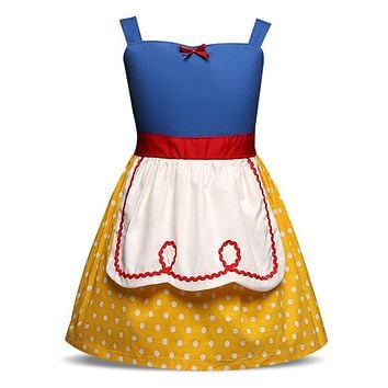 Baby Fairy Tale Princess Dress Costume Yellow/White polka dots