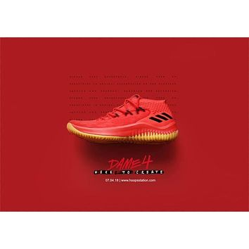 Damian Lillard£¡adidas Dame4 400Degreez Red Basketball Shoes CQ0186