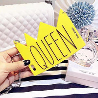 Silicone Phone case Yellow Queen Crown Apple Mobile Phone case With Rope Iphone5 5SIphone6 6S Iphone6 Plus Case