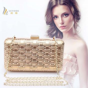 2018 Women Handbags Solid Purse Wedding Shoulder Bags Evening Clutches Bags Fashion Ladies Luxury Party Clutch Bags Iron Box