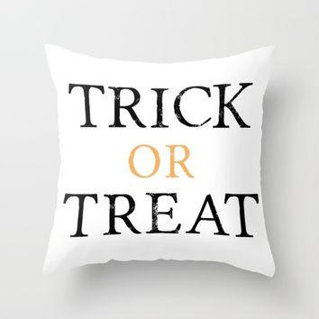 Trick or Treat Halloween Throw Pillow by Designs by Zal