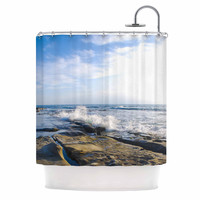 "Nick Nareshni ""Wave Against Rocks"" Brown Blue Shower Curtain"