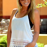 LACE ME UP TANK TOP IN WHITE