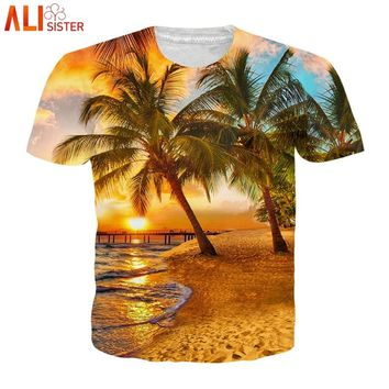 Alisister 2018 Summer Coconut Tree 3D Printed T Shirt Women Men Harajuku Nightfall Hawaiian Tee Shirt RUE Size Drop Shipping