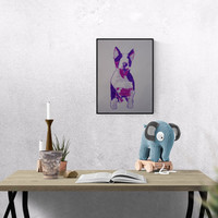 Dog Art: Bull Terrier, original art, hand-signed, unique piece, free dispatch, Hand made Pop Art illustration