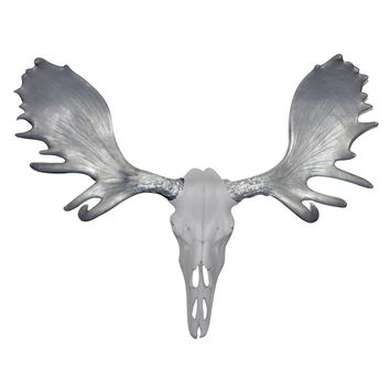 The Alberta Skull | Moose Skull | Faux Taxidermy | White + Silver Antlers Resin