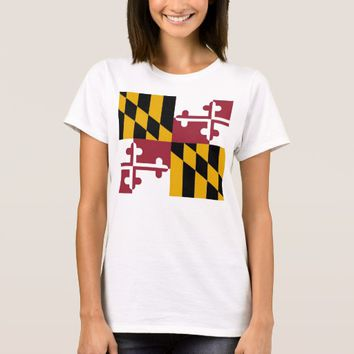 Women T Shirt with Flag of Maryland State