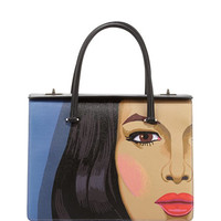 Girl-Print Saffiano Satchel Bag, Multi (Viola+Nero)