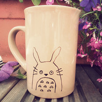 Totoro & moustache mug hand drawn by Mr Teacup by MrTeacup on Etsy