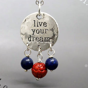 Live Your Dream Necklace - Message Never Never Give Up Necklace - Jasper Lotus Necklace - Sterling Silver Chain Necklace - Memo Necklace