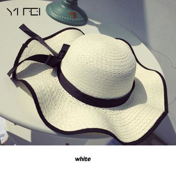 YIFEI 2018 New Fashion Women Wide Large Brim Floppy Summer Beach Sun Straw Hat Cap with big bow  Lady Vacation Straw Cap outdoor