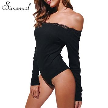 Simenual Off shoulder lace splice bodysuits fitness long sleeve body femme 2017 autumn slim sexy black bodysuit women jumpsuit