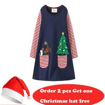 Jumping meters New Christmas Dresses baby girls dress cotton long sleeve applique kids dresses for girl clothing christmas dress