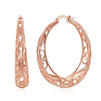 Filigree Hoop Earrings for Women Sterling Silver 925 Round Earring for Girls with Free Jewelry Cloth