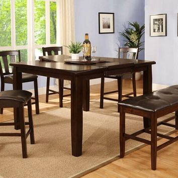 6 pc Espresso finish wood counter height dining table set with 4 chairs and bench