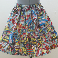 Womens Marvel Comic Book Skirt - Full Gathered 50's Skirt - Ready to ship