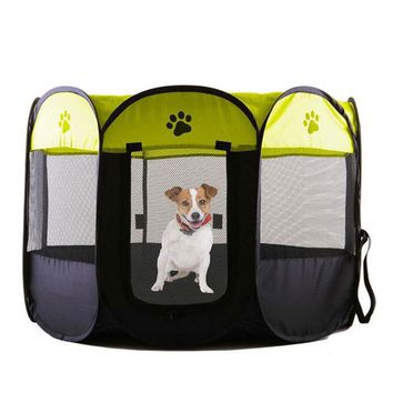 Portable Folding Pet Tent House Dog House Cage Playpen Dog Cat Tent Puppy Kennel Easy Operation Octagonal Fence Outdoor Supplies