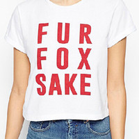 White FUR FOX SAKE Short Sleeve Crop T-shirt
