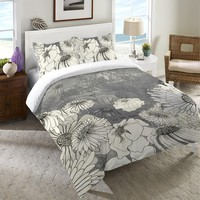 Flowers on Grey Duvet Cover
