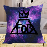 Fall Out Boy Black Logo Galaxy on square pillow cover 16inch 18inch 20inch