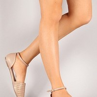 OBJECT-32-5-4 Ankle Strap Pointy Toe Flats Women Flats NUDE Bare Feet Shoes
