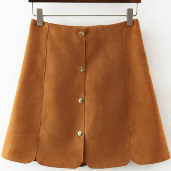 Yellow Buttons Scalloped Slim Skirt
