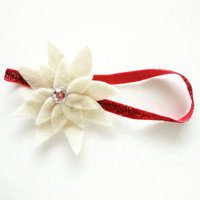 Infant Christmas Headband in Cream and Red - Christmas Accessory - Infant Christmas Outfit - Babys First Christmas -Christmas Photo Prop