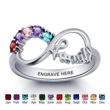 Mothers Infinity Family Ring 925 Sterling Silver Personalized Cubic Zirconia Birthstones free shipping