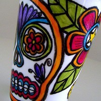 Ceramic Travel Mug Eco Friendly Sugar Skull Mexican by sewZinski