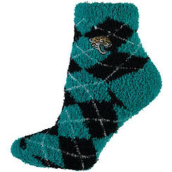 NFL Jacksonville Jaguars Black And Teal Argyle Fuzzy Socks