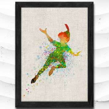 Peter Pan Disney Print Watercolor, Nursery Baby, Peter Pan Poster, Illustration Art, Wacolour, Wall Art, Home Decor, Linen Poster CAP08