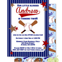 "Baseball Birthday Invitations - Personalized 5 x 7"" - Double-Sided and Printed Birthday Invitations - Baseball Party - Home Run Invitation"