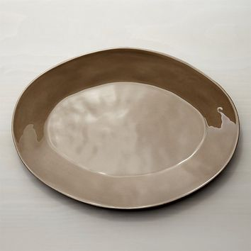 Marin Taupe Oval Platter 20""