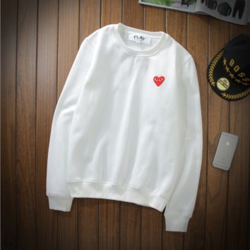 Play sweater Love hearts printed couple lovers long - sleeved simple men 's sweater men and women add cashmere section White