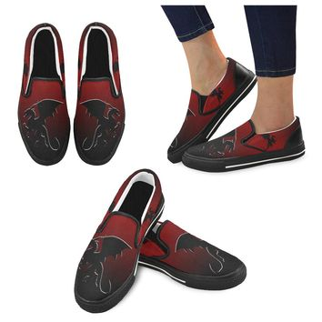 Men's Black Dragon Slip-on Canvas Shoes in Red and Black
