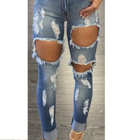 2017 COOL Women Denim Skinny Ripped Pants High Waist Stretch Hole Jeans Slim Pencil Trousers