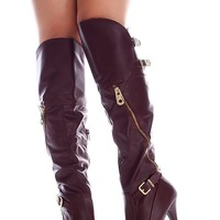 WINE SIDE ZIPPER BUCKLE ACCENTS FAUX LEATHER OVER THE KNEE HIGH HEEL BOOTS