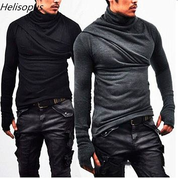 Helisopus 2019 Fashion Men's Slim Long Sleeve T-Shirts Cotton Men Fitness Casual T-Shirts Autumn Male Tops Tees With Gloves