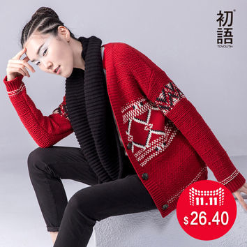 Toyouth 2016 Autumn New Sweaters Women Knitted Color Contrast Geometric Cardigan V-Neck All Match Casual Sweaters Lady Tops