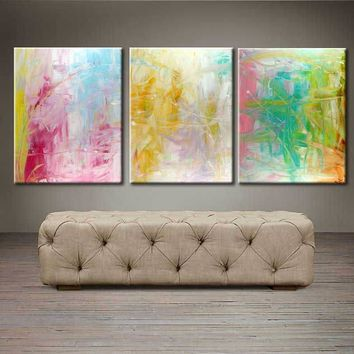 """'Spring blooms'  - 48"""" X 20"""" Original Abstract  Art. Free-shipping within USA & 30 day return Policy."""